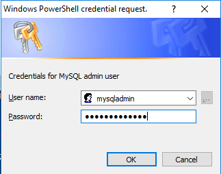 mysqladmin credentials