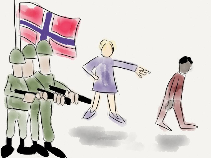 Norsk flyktning- og asylpolitikk. Bloggers tegning.