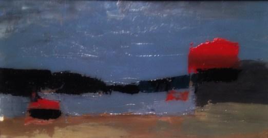 """La Seine à Ivry"" (Seinen ved Ivry), 1952, Nicolas de Staël (1914–1955). Olje på plate, 21,5 x 11,5 centimeter."