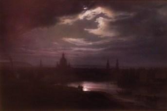 """Dresden i måneskinn"", 1843, Johan Christian Dahl (1788–1857). Olje på lerret."