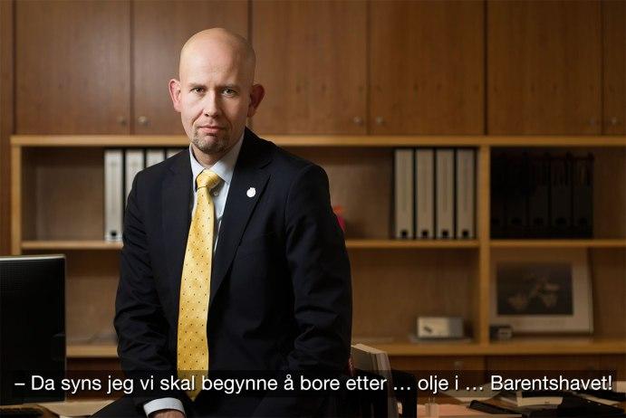 Norges olje- og energiminister Tord Lien (Frp), i et OED/Scanpix-bilde, smått manipulert av blogger.