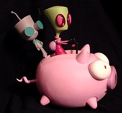 Invader Zim and Gir on the flying pig action figures