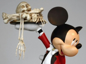 Mickey Mouse serving up a skeleton