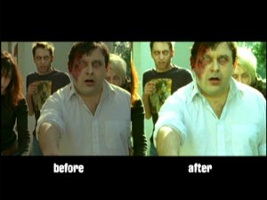 Zombie FX comparison from Shaun of the Dead