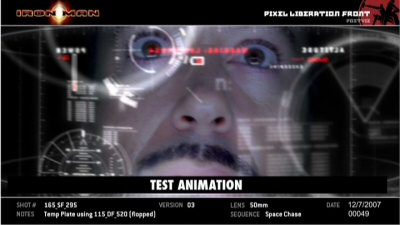 HUD animation test from the Iron Man DVD bonus features