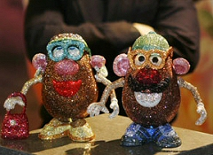 Mr. and Mrs. Potato Head, totally blinged out