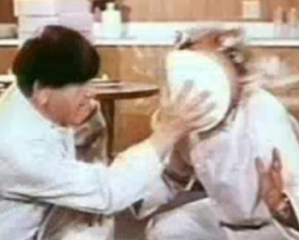 Three Stooges: Moe and Larry and a pie in color