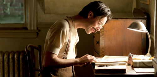 Jack Huston as Richard Harrow with collage book, from Boardwalk Empire