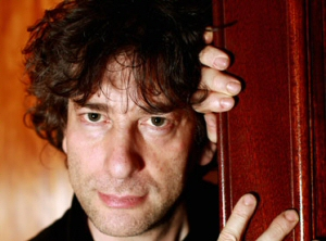 Neil Gaiman in doorway