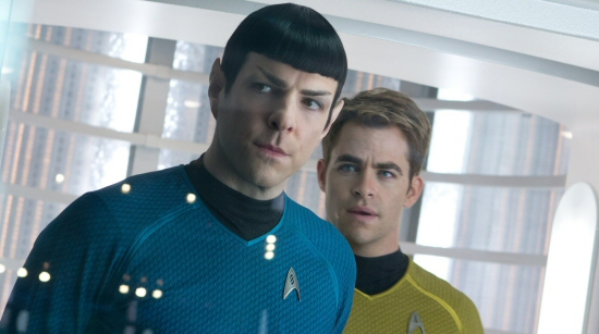Zachary Quinto and Chris Pine as Spock and Kirk in Star Trek Into Darkness