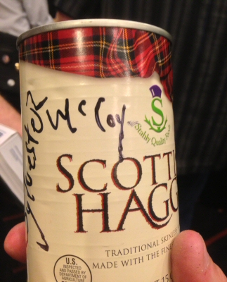 Canned haggis signed by Sylvester McCoy