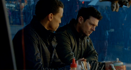 Almost Human: Michael Ealy and Karl Urban, eating noodles and homage-ing Blade Runner.  Yes, again.