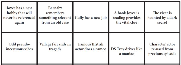 Midsomer Murders Bingo Sample