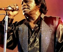 James Brown with mic
