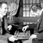 Christopher Lee and Vincent Price, playing chess