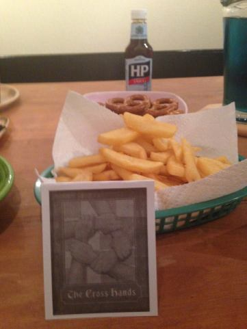 The Cross Hands: chips and brown sauce