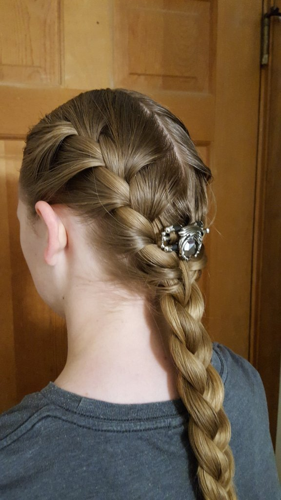 side view double braid in hair leading to single hair braid with Lilla Rose Dragon Flexi Clip