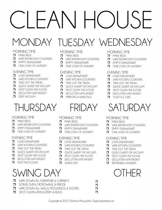 clean house daily schedule swing day other rota