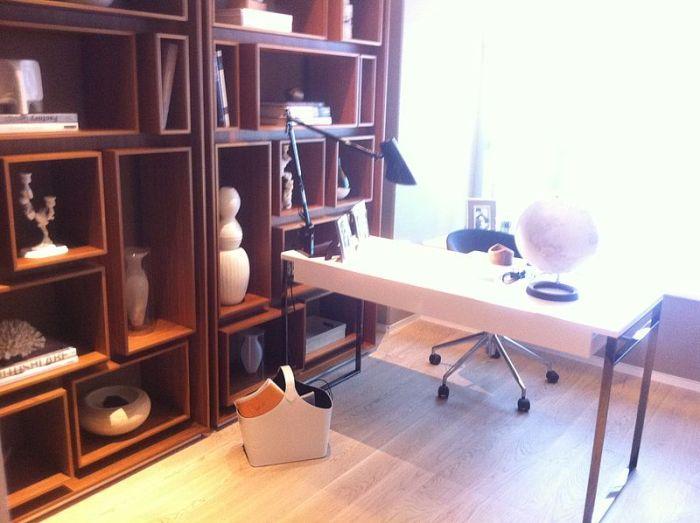 shelves desk lamp globe den chair window natural light Renovation = Successful Home-Based Business