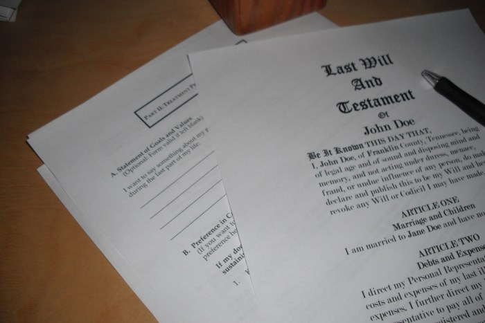 paper documents of a last will and testament and a pen Making Sure Your Family will be okay without you
