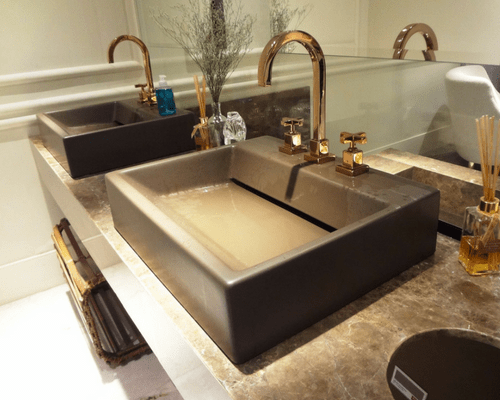 double rectangular sinks in bathroom with curved faucets mirror Improve Your Family Bathroom Without All The Hard Work