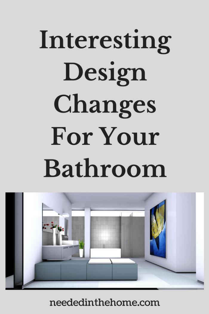 modern design bathroom large wall art mirrors brick wall Interesting Design Changes For Your Bathroom neededinthehome.com