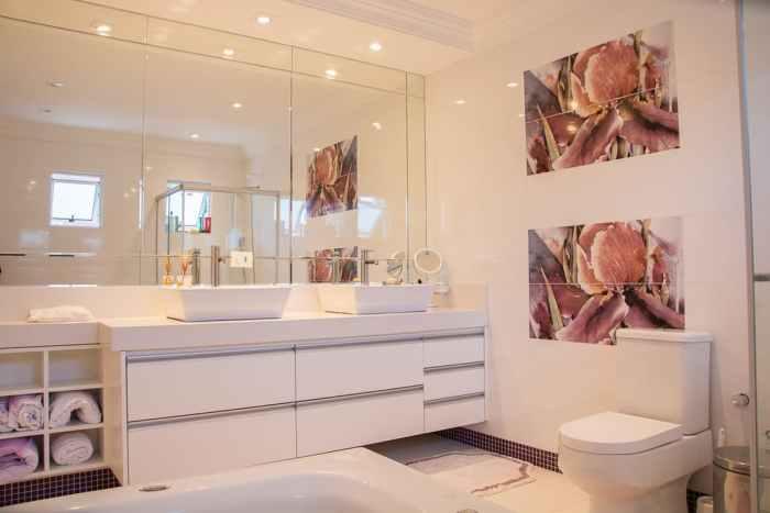 double sink in bathroom modern georgia okeefe style flower art bath mirrors toilet towel organizers interesting design changes for your bathroom