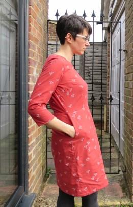 Sigma Dress in Bye-Bye Birdie fabric (Atelier Brunette)