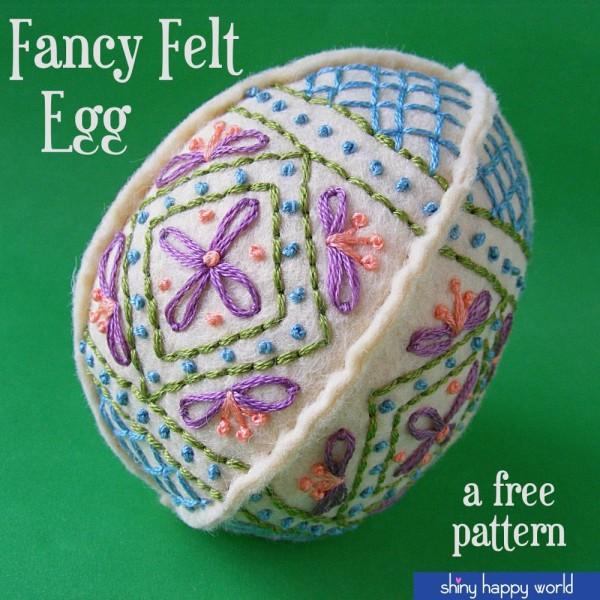 Embroidered Felt Easter Egg Freebie