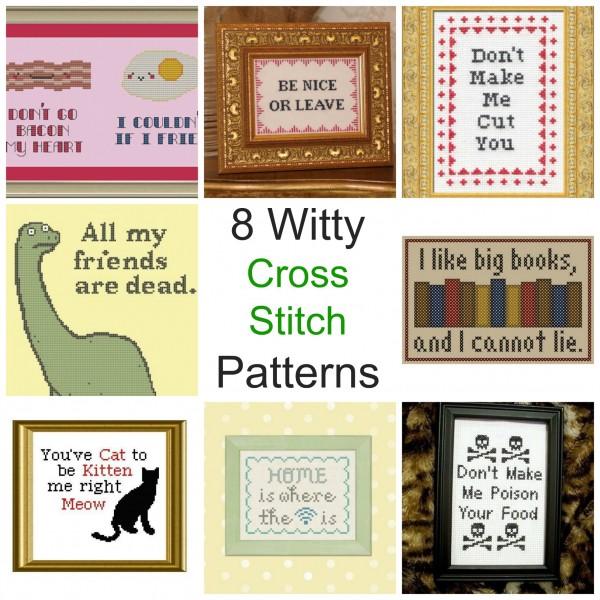 8 Witty Cross Stitch Patterns Needle Work
