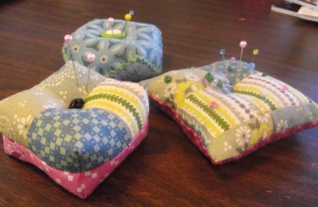 Scrap Fabric Biscornu Inspired Pin Cushions