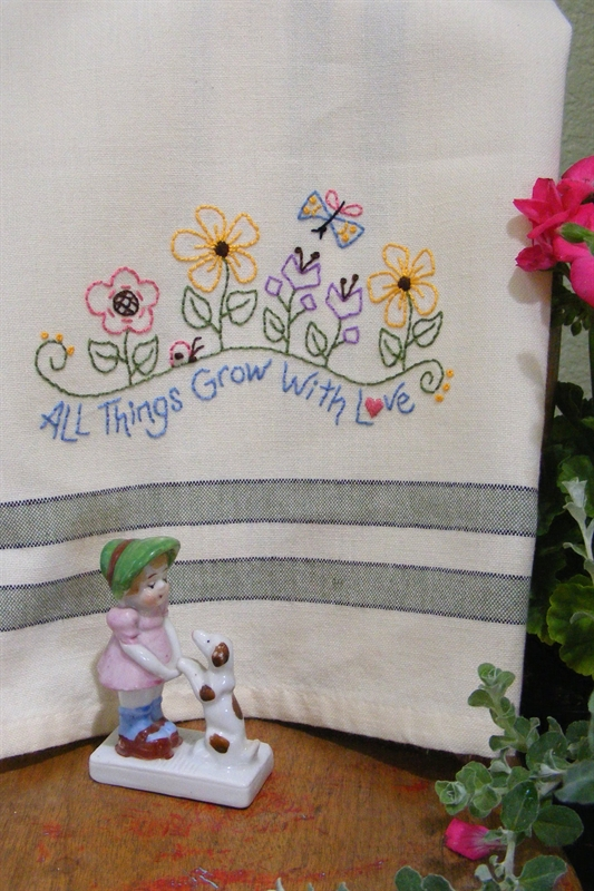 Tea towel all things grow with love needle work - Free embroidery designs for kitchen towels ...