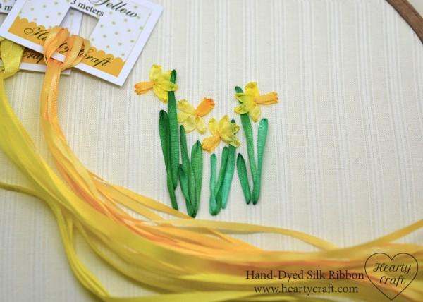 Ribbon Embroidery Daffodils Needle Work
