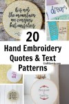 20 Hand Embroidery Quote Patterns