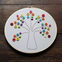 How to Make a Button Rainbow Tree Embroidery Project