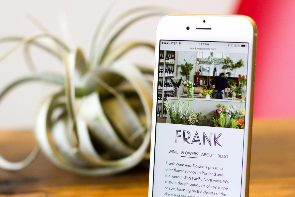 Frank Wine & Flower website on iPhone