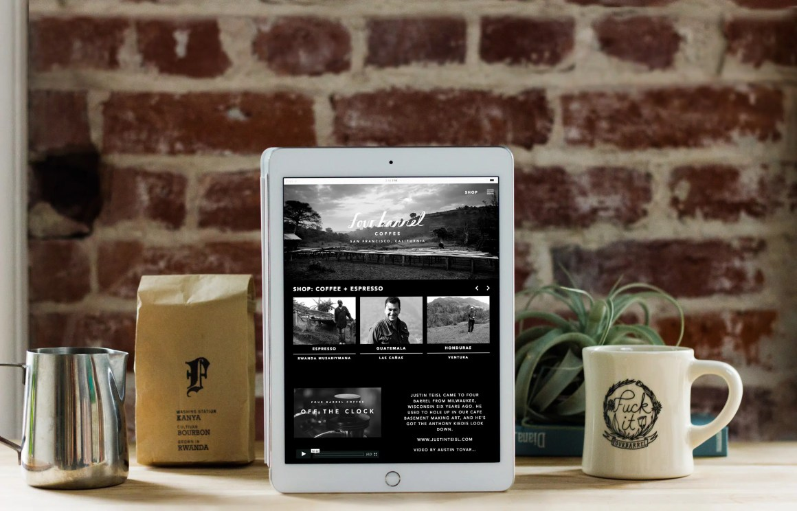 Four Barrel Coffee website on iPad