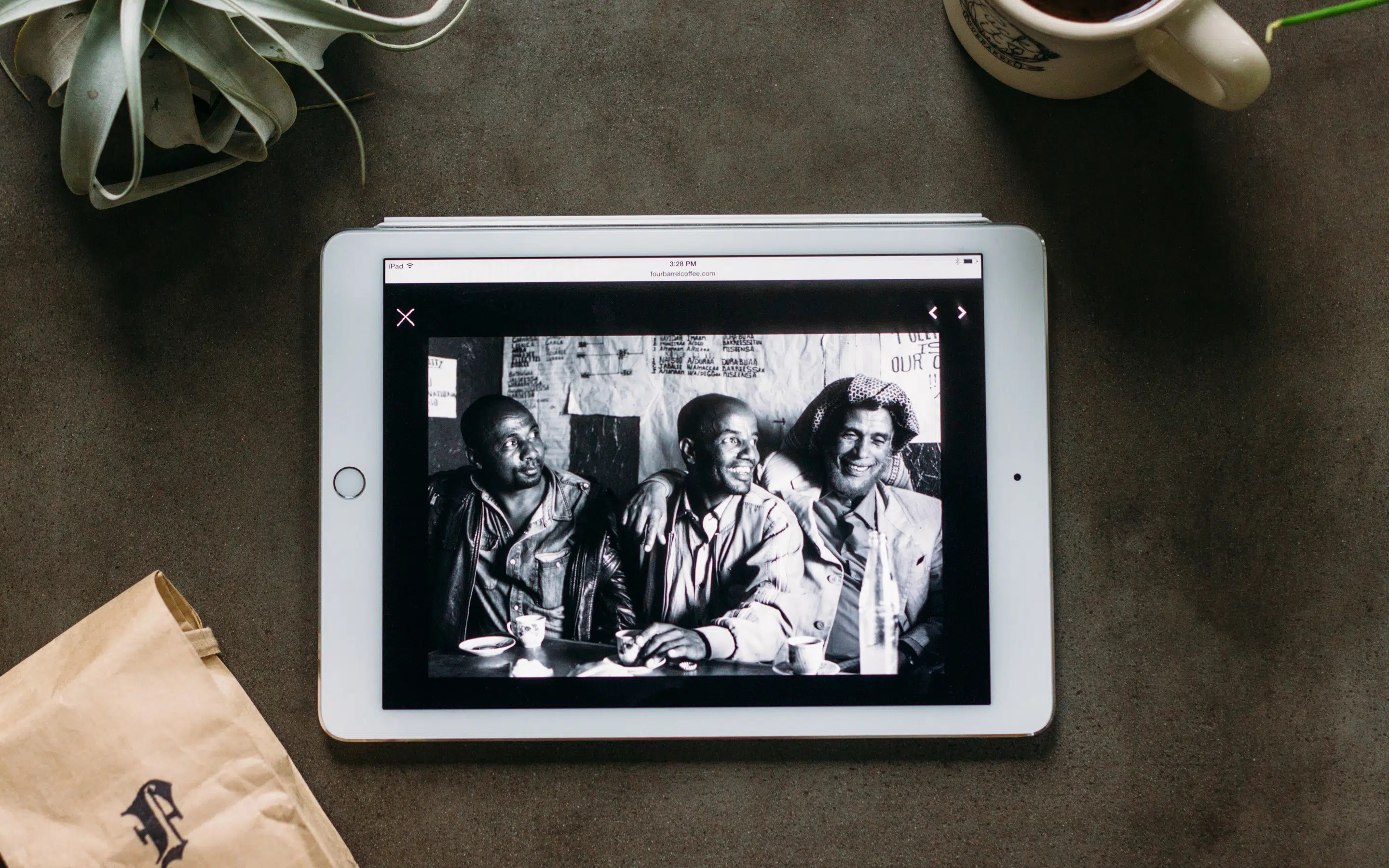 Four Barrel Coffee source photo showcases on their site, shown on iPad