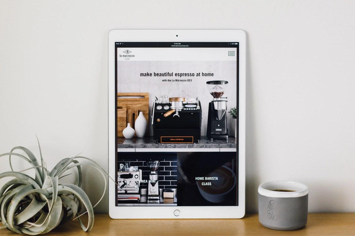 La Marzocco Home website on iPad