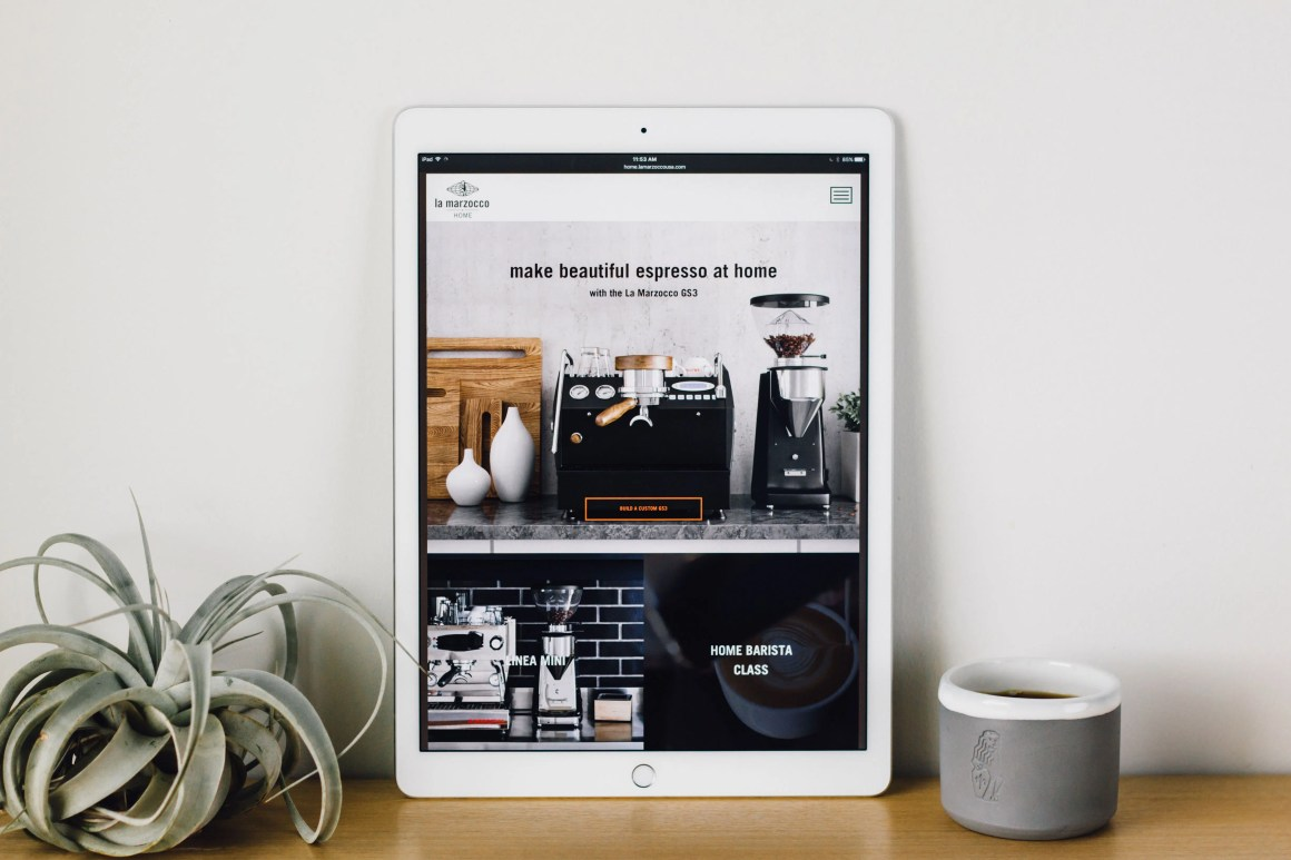 La Marzocco Home website on iPad