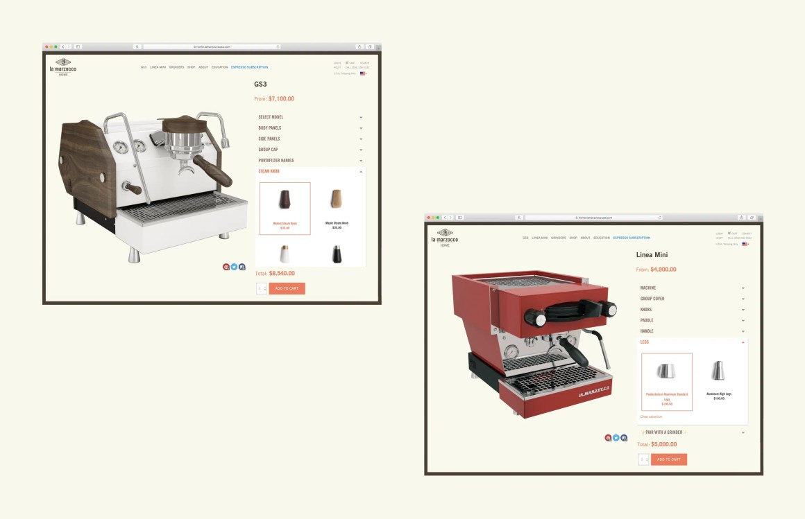 examples of GS3 and Linea Mini configurators on the La Marzocco website
