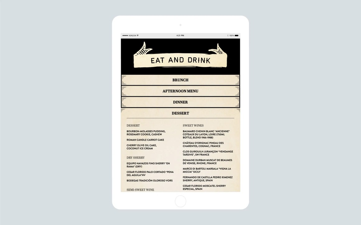 Woodsman Tavern website menu on iPad