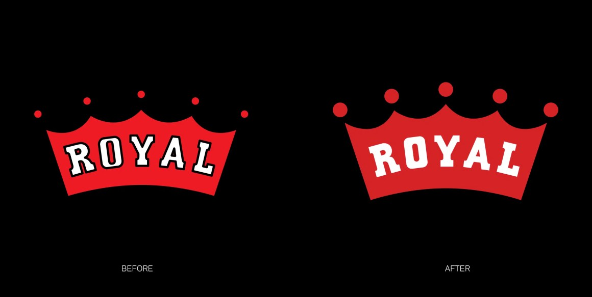 Royal identity before and after on black background