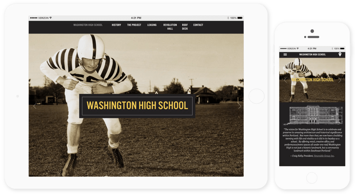 Washington High School website responsive view