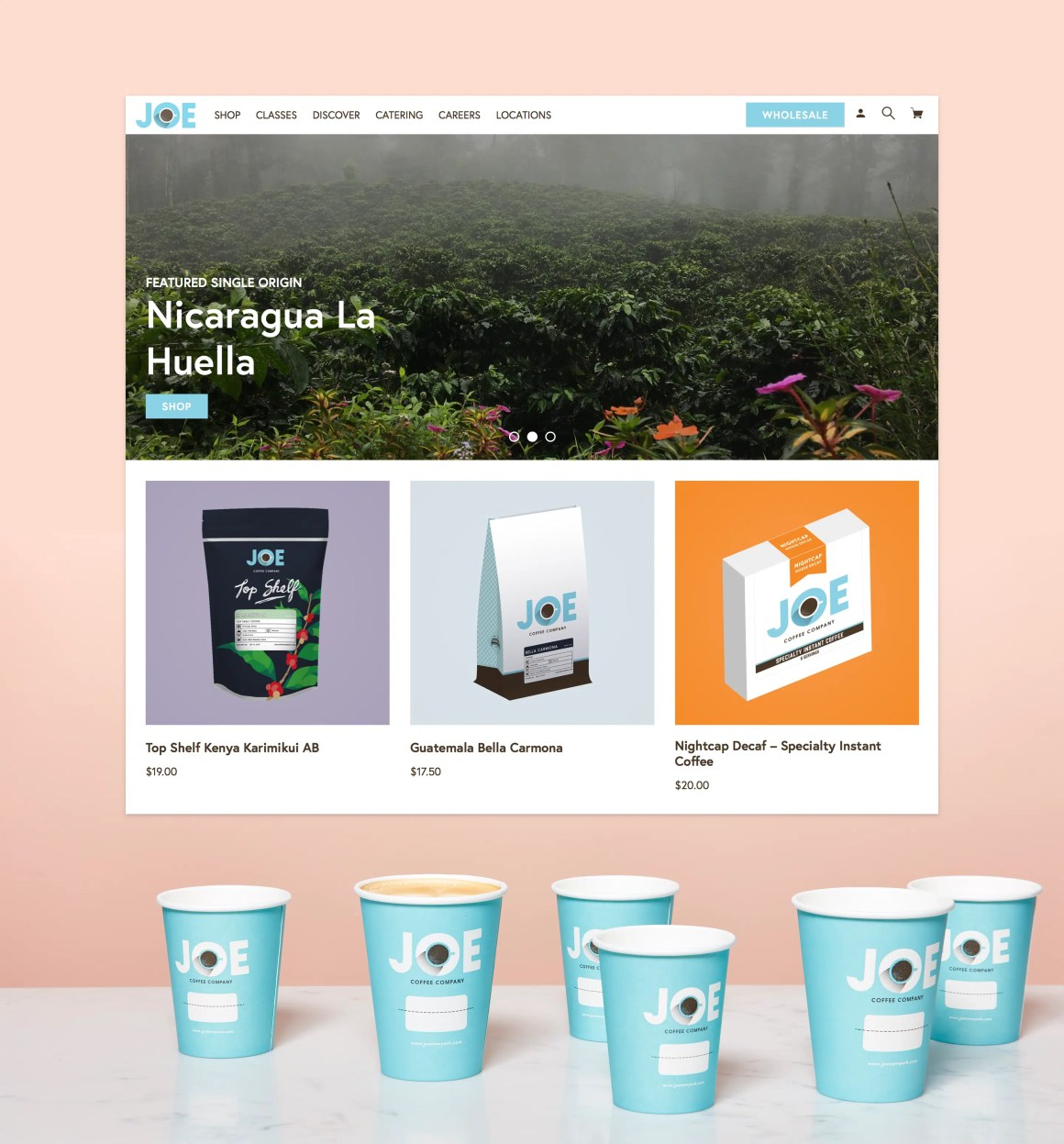 homepage of the redesigned Joe Coffee Company website featuring illustrations for coffee