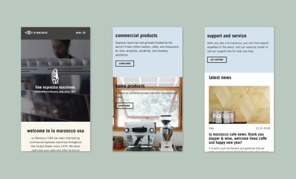 Mobile version of La Marzocco Homepage