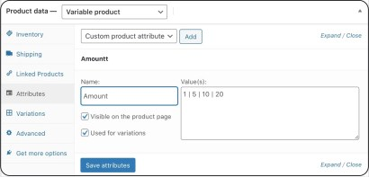 setting up a variable product