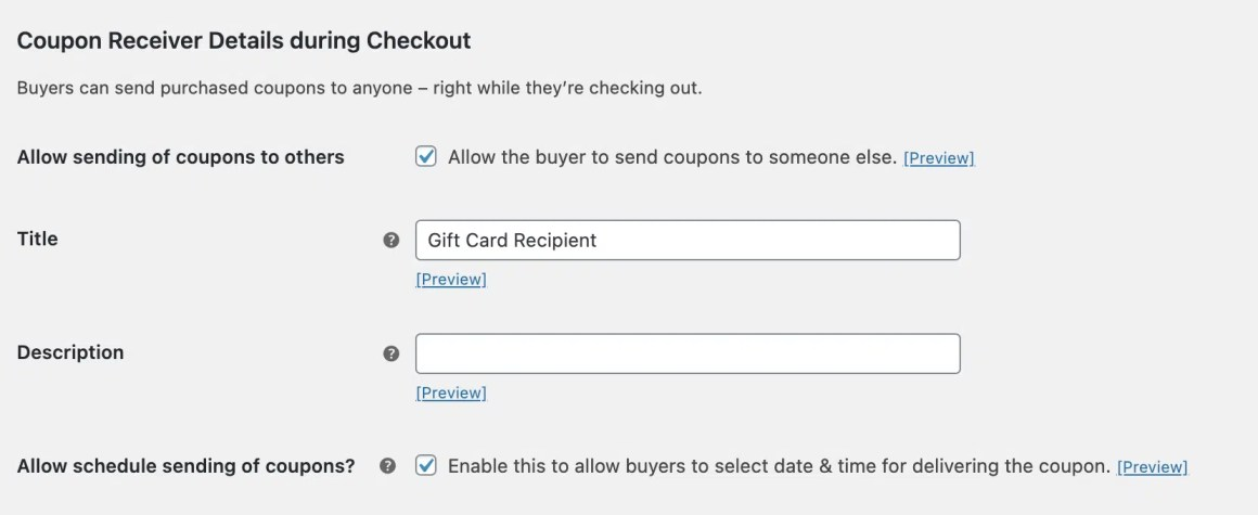 It is important to allow buyers to choose the date they send their gift cards