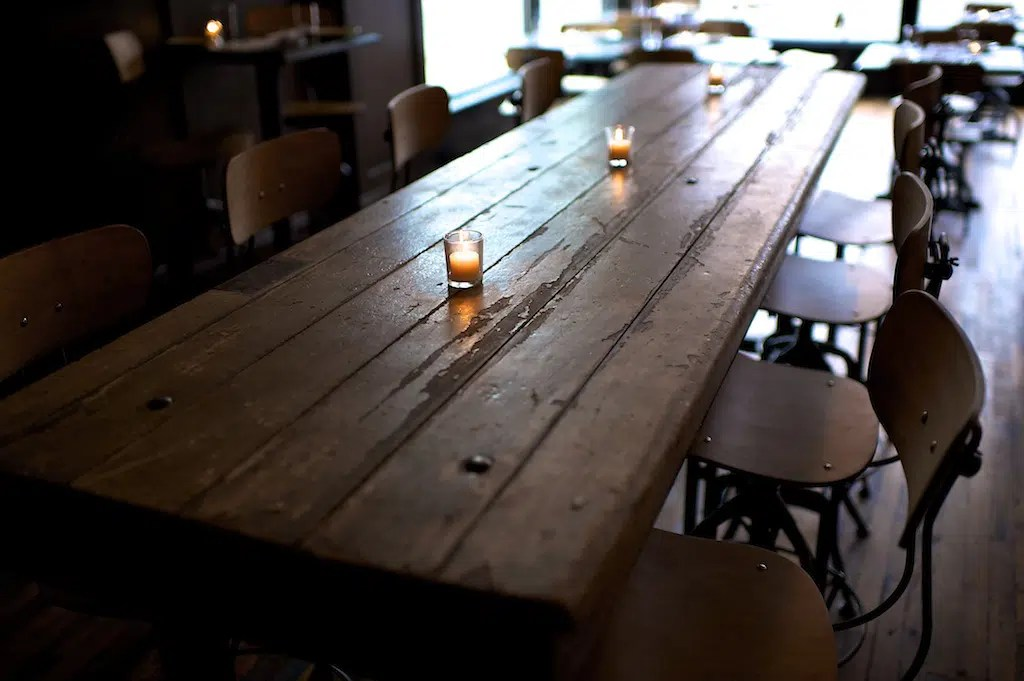 Woodsman Tavern table