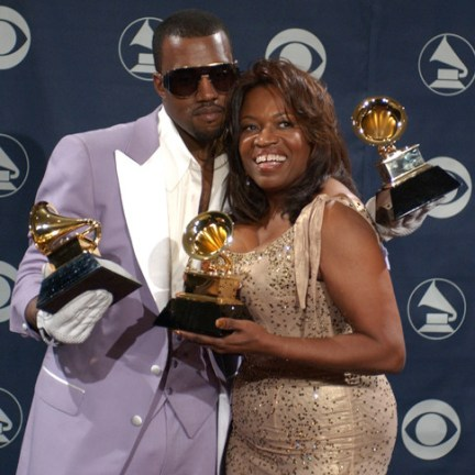 """Kanye West, winner of Best Rap Solo Performance for """"Gold Digger,"""" Best Rap Song for """"Diamonds From Sierra Leone,"""" and Best Rap Album for """"Late Registration"""", and mother Donda West (Photo by Gregg DeGuire/WireImage for The Recording Academy)"""